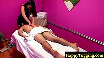 Real asian masseuse spoils client with kinky rub