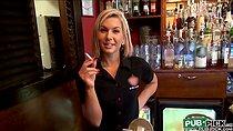 Beautiful barmaid pounded hard for money