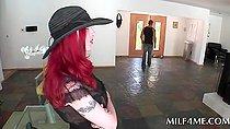 Redhead MILF seduces teen stud and fucks him