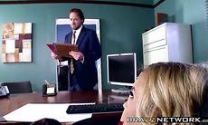 Hot busty secretary satisfies her horny boss in an office