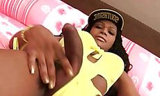 Curvy black lady boy idolizing Blac Chyna sharing anal sex video
