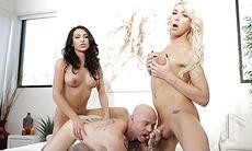 Hot trans man Buck gets fucked hard by TS Aubrey and TS Chanel