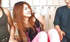 Rio Sakaki amazing threesome to end with creampie