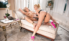 Stepmom Tiffany Watson is in lesbian sex position with teen babe Aaliyah Love