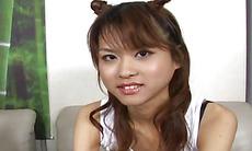 Kinky Japanese Akira Shiratori gets her pussy and ass dildo fucked