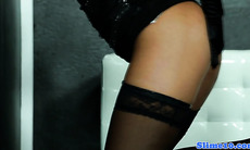 Gloryhole lingerie babe in specks bukkake fun