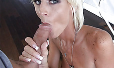 Blonde mature stepmom sucks a long dick