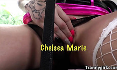 Tattooed and redhead shemale Chelsea Marie fucked Edyn Blair