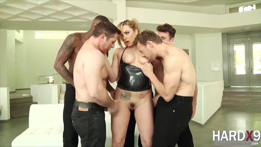 Skinny Blonde Rough Gangbang