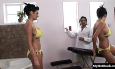 Kat and Kit Lee lead a whorehouse john into the luxurious spa bathroom