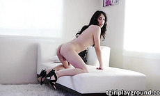 Brunette Tgirl Roxxy Thorns is turned on for solo masturbation