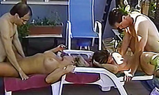 Vintage amateur orgy in the backyard