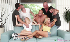 Two Adorable Blonde Babes Fuck With Bisex Guys