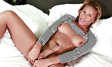 Sexy shemale Jamie Croft plays with her big cock