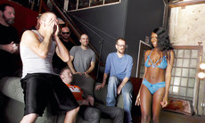 Beautiful Ebony Kandie Monaee Is Blowing Twelve Horny Dudes