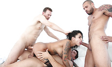 Three horny guys gives Bonnie a sweet DP