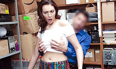 Brunette babe fucked by officer for stealing