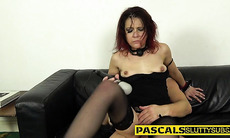 Bdsm sub gives head and gags