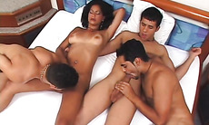 Orgy with dame and bisexual hunks