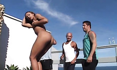 Hunks fuck Latin slut and each other